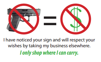 "Click here to download and print a ""no guns, no money"" card to give to businesses who don't want you to carry on their property (even though it's perfectly legal!)"