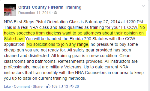 What Saul Askin is referring to here is our 1/2 hour lecture that we give with every concealed carry class. We also invite people to become members of our shooting range if they'd like to be.