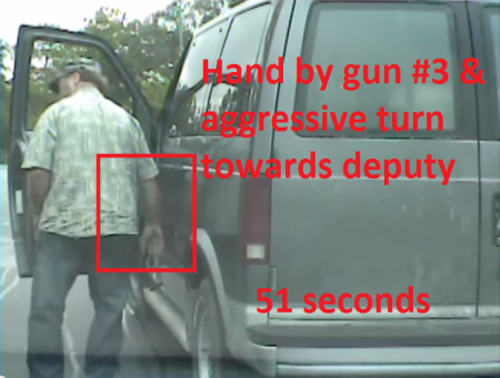 Not only did this guy put his hand by his gun for a THIRD time, but he also turned aggressively towards the Deputy.