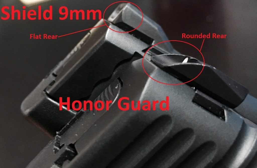 The Honor Guard has a smooth rear sight to prevent snag on the draw - but the Shield has a FLAT rear sight which may be more likely to get snagged.