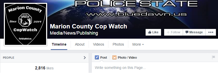 "This is a screen grab from the ""Marion County Cop Watch"" page."