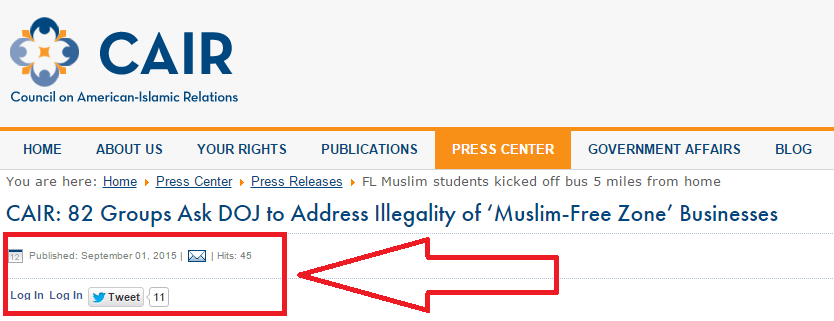A whopping 45 people actually viewed this page on CAIR's website. I was 44 AND 45.