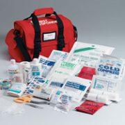 First Responder kit- 158 piece- semi-rigid red bag w/ handle- shoulder strap- side pockets- removable divider
